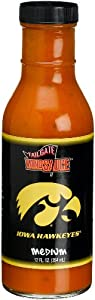 Tailgate University of Iowa Medium Wing Sauce, 12-Ounce Glass Bottles (Pack of 6) from Tailgate