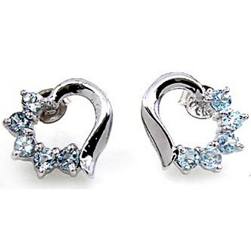 .925 Sterling Silver Blue Topaz Gemstone Heart Love Earrings