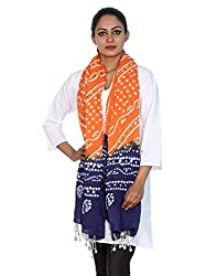 Elegant Cotton Tie Dye Tie Dye Orange Stole Casual Wear By Rajrang