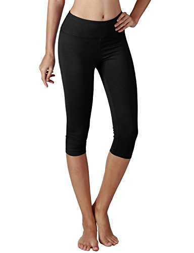 Yoga Reflex Women's Tummy Control Active Tights Yoga Running Leggings Capris , Black , Small