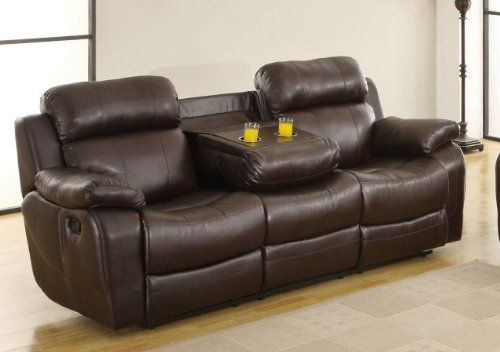 Homelegance Marille Double Reclining Sofa W/ Center Drop-Down Cup Holders In Brown Leather front-1065892