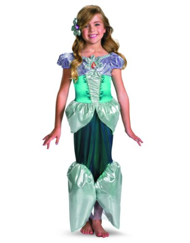 Disney Princess - Ariel Lamé Deluxe Toddler / Child Costume Green Medium (7/8)