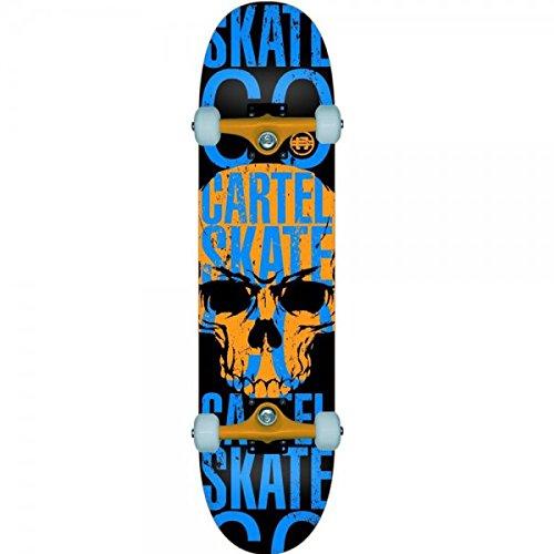"CARTEL - Skateboard da 7,8"" (19,85 cm), motivo: teschio, colore: arancione/blu"