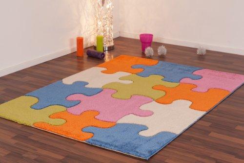 Nach oben Kinderteppich / Spielteppich / Babyteppich / Kinderzimmerteppich / Teppich Modell farbenfrohes Puzzle / Größe ca. 100 x 150 cm.