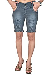 Nifty Women's Denim Shorts (1202, Grey, 28)