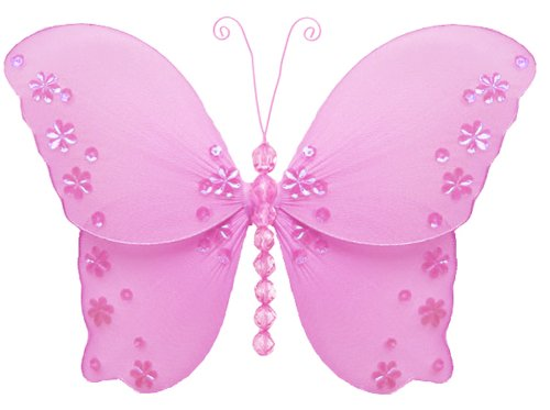 """Hanging Butterfly 5"""" Small Dark Pink (Fuchsia) Twinkle Nylon Butterflies Decorations. Decorate For A Baby Nursery Bedroom, Girls Room Ceiling Wall Decor, Wedding Birthday Party, Bridal Baby Shower, Bathroom. Kids Childrens Butterfly Decoration 3D Art Craf front-950023"""