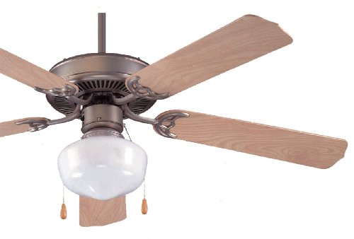 Royal Pacific 1052-SBP-ES Royal Star II 5-Blade 52-Inch Ceiling Fan with 1-Light Kit Included, Brushed Pewter with Natural Maple Blades, Energy Star Rated