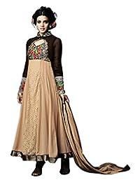 Natasha Couture Cream & Black Semi Georgette Anarkali For Women