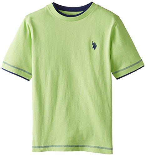 U.S. Polo Assn. Big Boys' Double Crew Look T-Shirt, Mint Leaf, 10/12