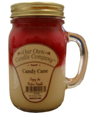 Candy Cane 13 oz Mason Jar Candle (Our Own Candle Company Brand) Made in USA - 100 hr burn time