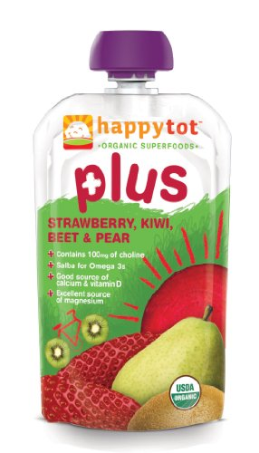 Happy Tot Plus Organic Baby Food, Strawberry, Kiwi, Beet & Pear, 4.22-Ounce Pouches (Pack of 8) - 1