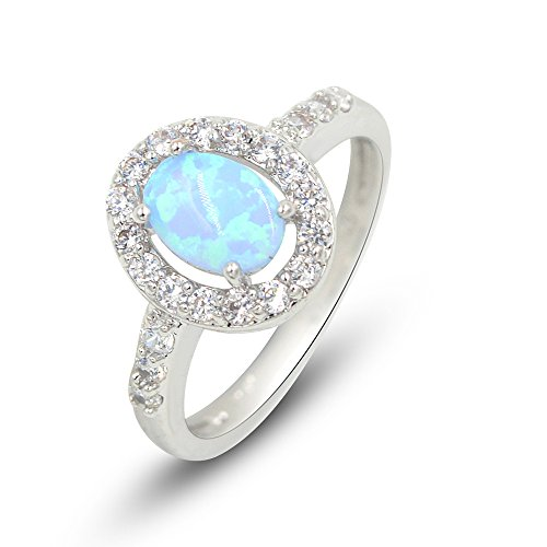 Espere Lab Created Cushion Cut Light Blue Fire Opal Ring Band Size 6-8 in Gift Box (Tiffany Blue Shirt compare prices)