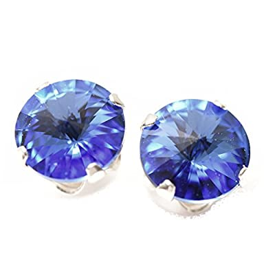 End of line clearance. 925 Sterling Silver stud earrings expertly made with Sapphire Blue crystal from SWAROVSKI® for Women