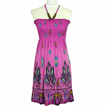 Pink & Purple Paisley Print Wood Beaded Halter Summer Dress Size Medium