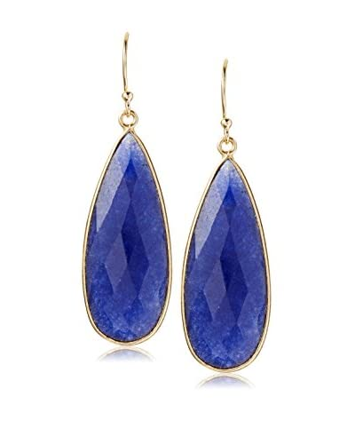 Liv Oliver 18K Gold Sapphire Pear Drop Earrings