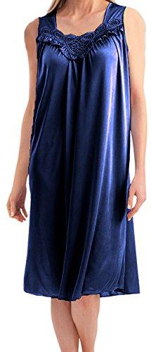EZI Women's Faux Silk and Lace Sleeveless Nightgown