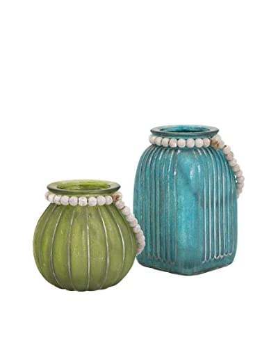 Set of 2 Alta Colored Jars, Green/Blue
