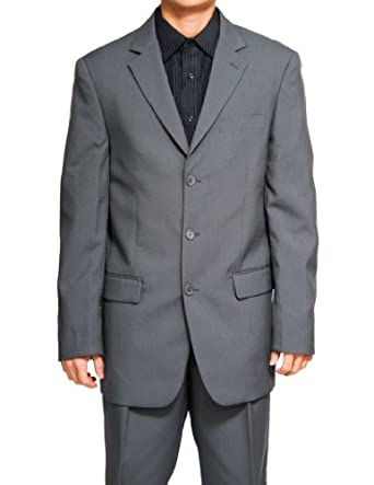 New Men's 3 Button Single Breasted Gray (Grey) Dress Suit