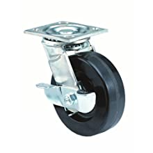 E.R. Wagner Plate Caster, Swivel with Pinch Brake, Phenolic Wheel