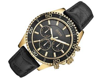 Guess - W0171G3 - Chaser - Montre Mixte - Quartz Analogique - Cadran Noir - Bracelet Cuir Noir
