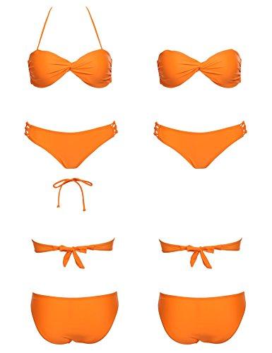 Ekouaer Women Strappy Twist Bandeau Bikini Top Brazilian Two Pieces Bathing Suit (Bow Bathing Suit Top compare prices)