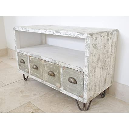 Shabby Chic Rustic White Distressed TV Cabinet Media Unit with Drawers (D4180) ** Full Range of Matching Furniture is Available**