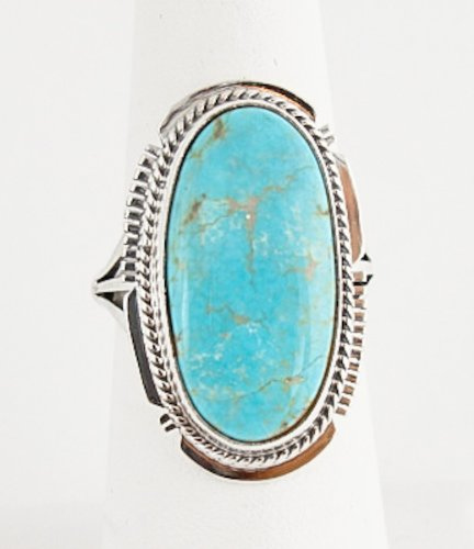 Navajo Silver #8 Turquoise Ring Size 7 Kathy Yazzie Made In The Usa