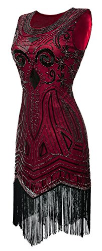 Eforpretty 1920's Long Prom Vintage Gatsby Bead Sequin Art Nouveau Deco Flapper Dress(Red,M)