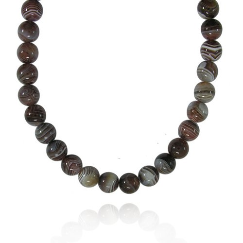 12mm Round Botswana Agate Bead Necklace, 22+2