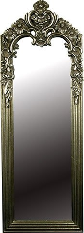 TALL ANTIQUE SILVER Dressing / Hall Mirror with Beautifully Ornate Frame - Height: 45.5