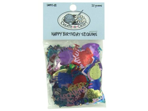 happy birthday sequins 20 grams - Pack of 48