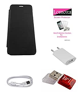 Lomoza Black Flip Cover for Lava Iris 310 Style, Tempered Glass, Charger, Data Cable, Card Reader