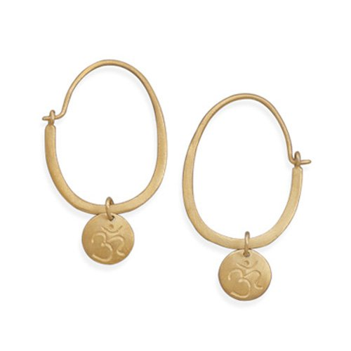 14 Karat Gold Plated Sterling Silver Hoop Earrings with Om Tag