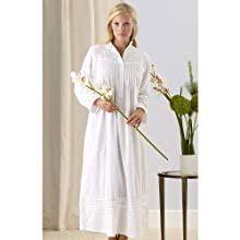 The Irish Linen Store Womens Ava Long Sleeve Cotton Nightgown White