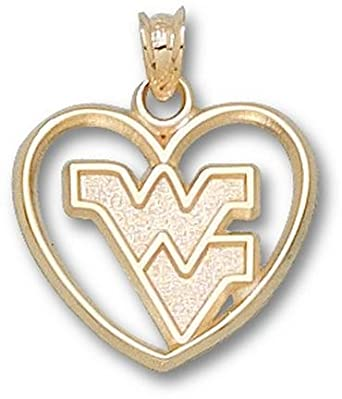 West Virginia Mountaineers WV Heart Pendant - 14KT Gold Jewelry by Logo Art