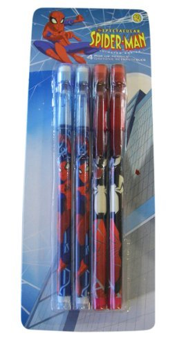 Marvel Spider-man Pop Up Pencils ( Pack of 4) Spiderman Pencils [Toy]