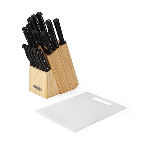 Farberware 17-Piece Triple Rivet Knife Block Set with Poly Cutting Board