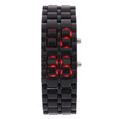 Volcanic Lava Iron Samurai Metal Faceless Bracelet Fashion Led Wrist Watch-Black Plastic Bracelet Red Led