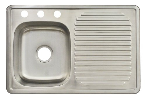 FrankeUSA FDBS703BX 3-Hole Single-Bowl Top Mount Kitchen Utility Sink, Stainless Steel