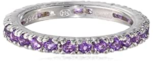 Sterling Silver Stackable All-Around Amethyst Ring, Size 6