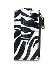 Zebra Pattern Credit Card and ID Holder with Clip and Zipper Pouch