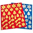 APLI Sachet de 6 planches de gommettes th�me No�l, 3 coloris Or, 3 coloris argent, format 21x24 cm