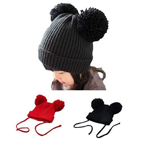 Baby Woolen Caps, Misaky Cute Winter Kids Girls Boys Warm Hats (Black)