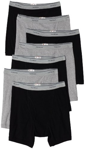 Fruit of the Loom Men's 7 pack boxer brief, Black/Grey, Medium