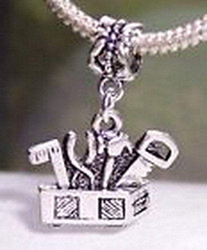 Beads Hut - Tool Box Tools Contractor Hammer Saw Dangle Bead for European Charm Bracelets (Saw Costume Ideas)