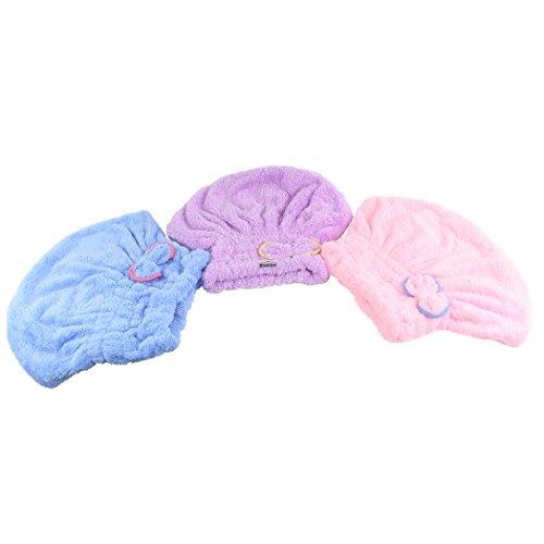 Dianoo 3PCS cappello capelli secchi, donne carina protezione dei capelli asciutti, carina bowknot del ultra assorbente doccia bagno cap spa, capelli essiccazione tappo avvolgere, 3PCS (colori casuali)