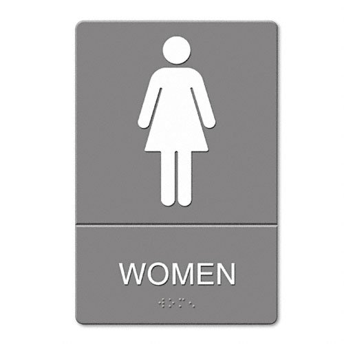 Headline Sign Products - Headline Sign - ADA Sign, Women Restroom Symbol w/Tactile Graphic, Molded Plastic, 6 x 9, Gray - Sold As 1 Each - Easy-to-see white graphic. - Raised tactile graphics with grade 2 Braille. - Meets Americans with Disabilities Act (ADA) requirements.