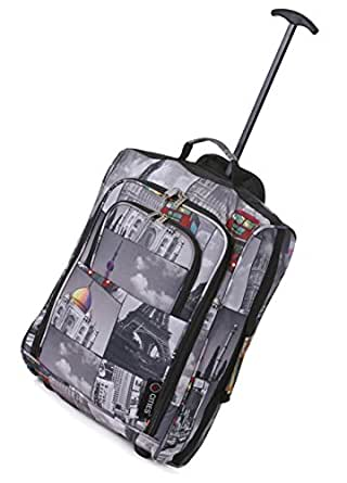 Frenzy/5Cities Lightweight Hand Luggage Bag - Approved Ryanair 2 Wheeled Cabin Baggage. 42L Travel Suitcase Holdall Includes Padlock! (Cities)