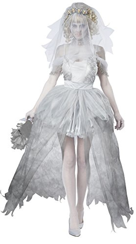 [MERRYCOCO Adult Halloween Ghost Costume corpse bride and bridegroom costume (L, Bride)] (Diy Quick And Easy Halloween Costumes For Adults)