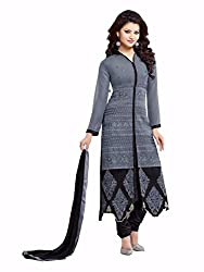 HK Trading Women's Georgette Unstitched Dress Material (MHARI96489558280_Grey Black_Free Size)